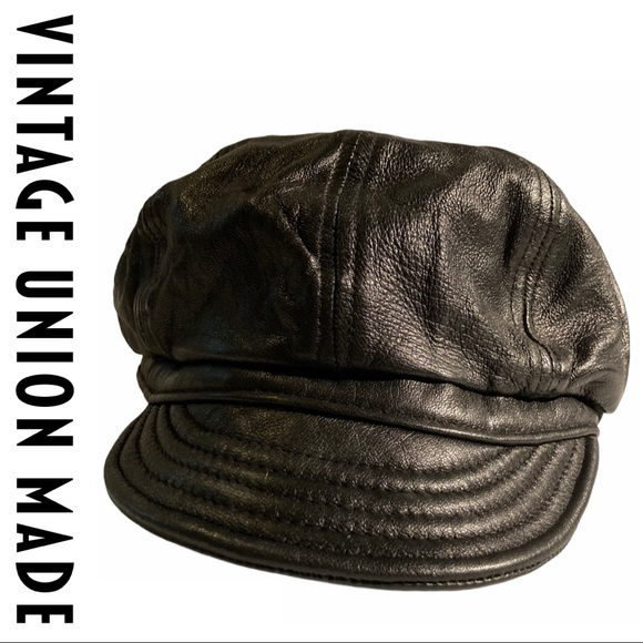 ✨SOLD✨Union Made Leather Lambskin Black Cap Hat